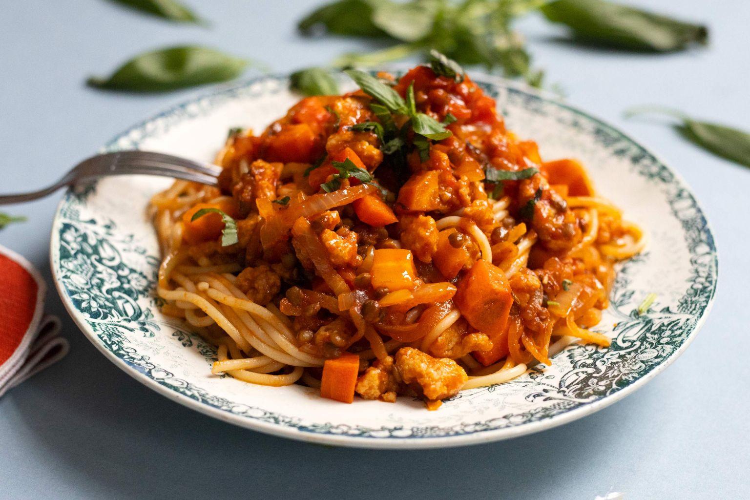 Spaghetti bolognaise végétale aux lentilles