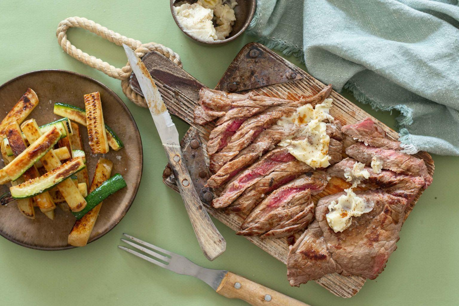 Steak de bœuf charolais et beurre au sel fumé viking