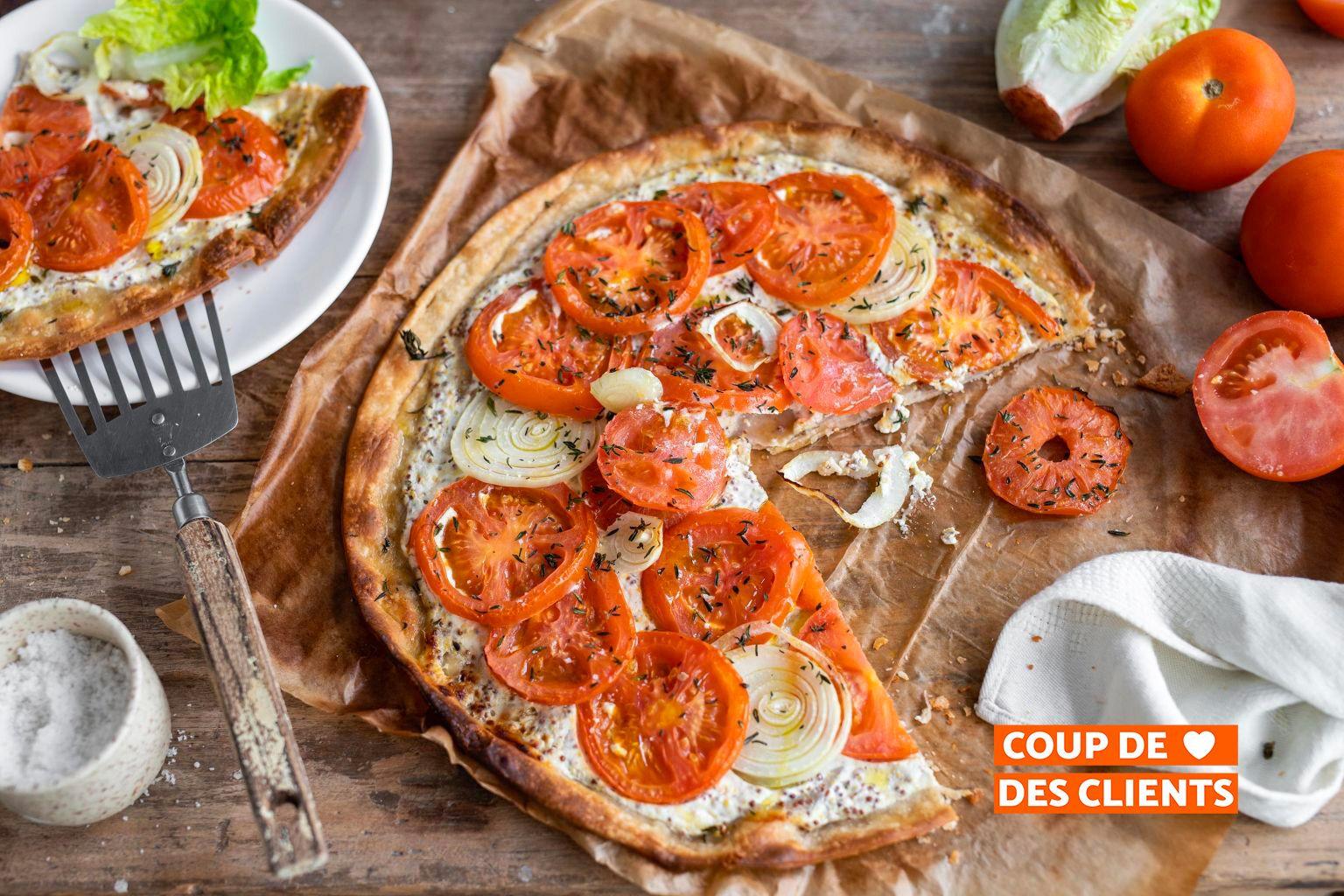 Tarte fine aux tomates et à la moutarde