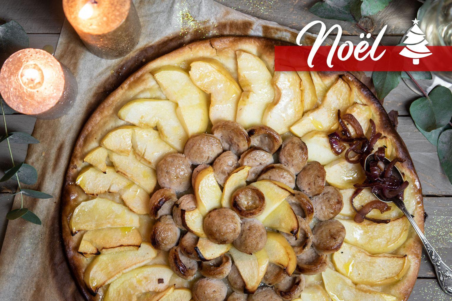 Tarte fine de boudin blanc aux pommes et chutney d'oignon rouge