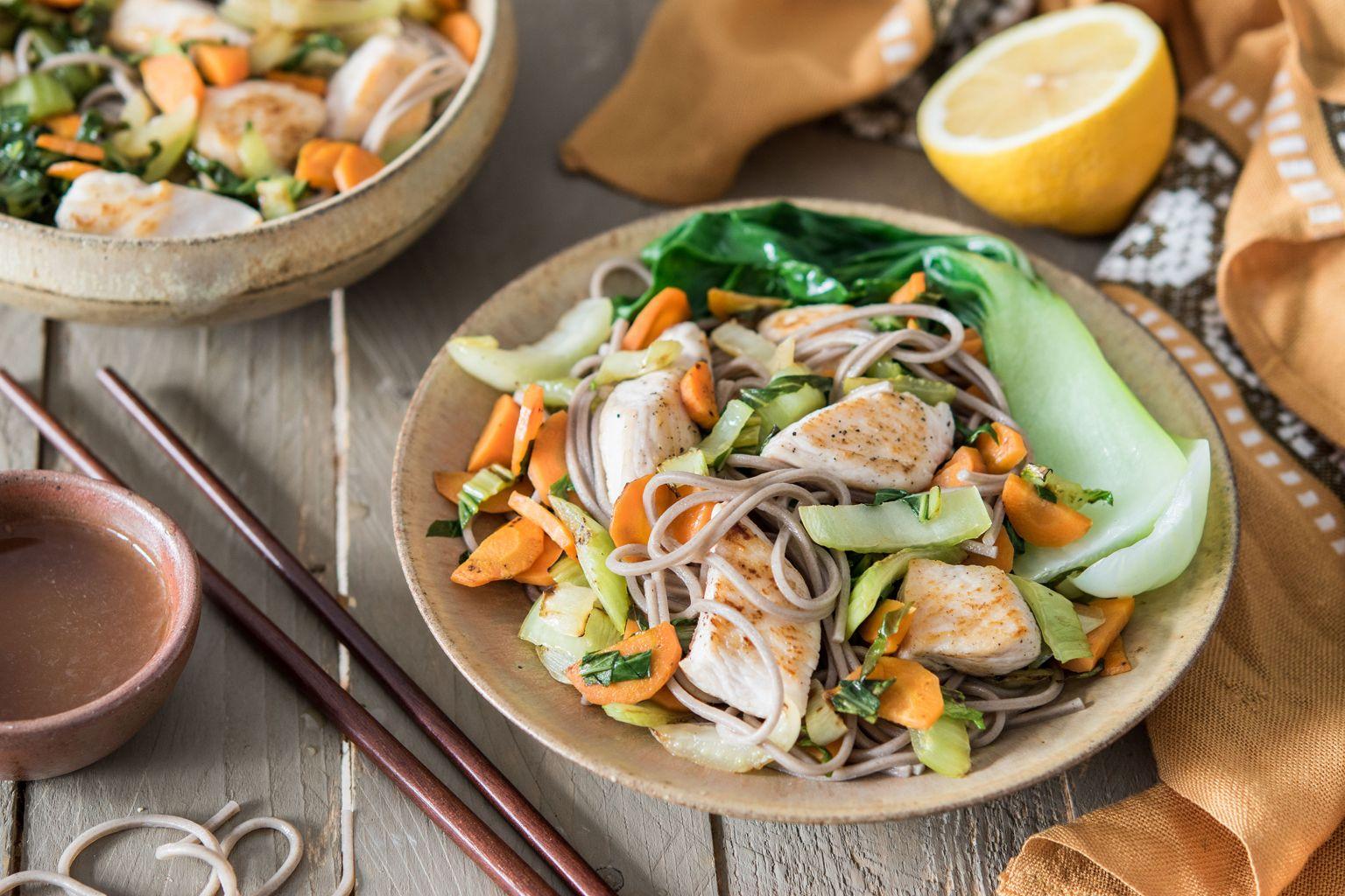 Wok de poulet sauce nuoc-mâm et citron