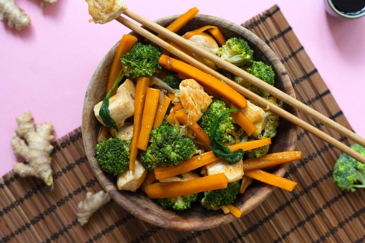 Wok de poulet au brocoli et au gingembre