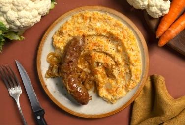 Saucisses rustiques et purée de carotte et chou-fleur au cumin