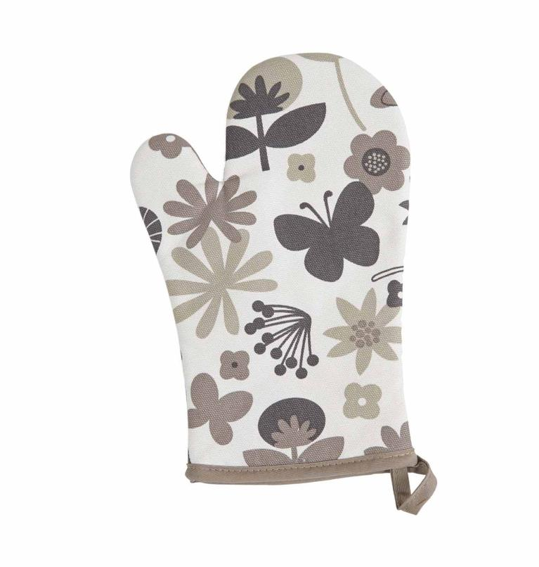 Ovenwant floral WC,18x28 cm, taupe 1