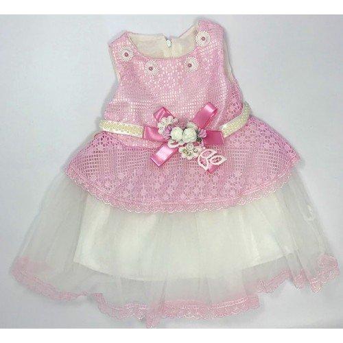 İnci Kemerli Kız Bebek Elbisesi
