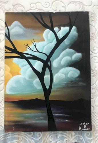 3 Parça Kuru Ağaç & Manzara Tablosu