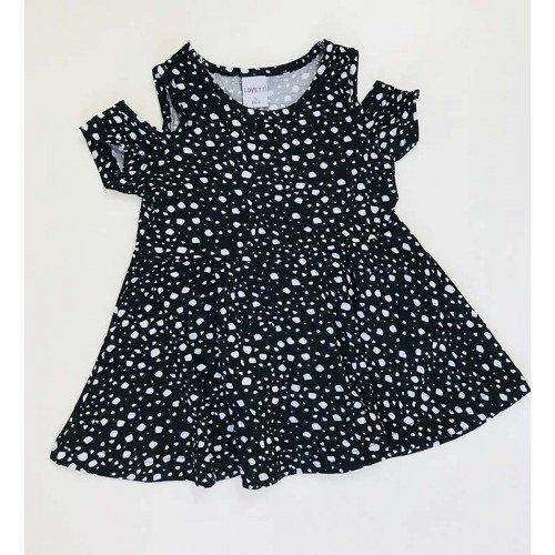 Çakıl Taşı Desenli Kız Bebek Elbisesi