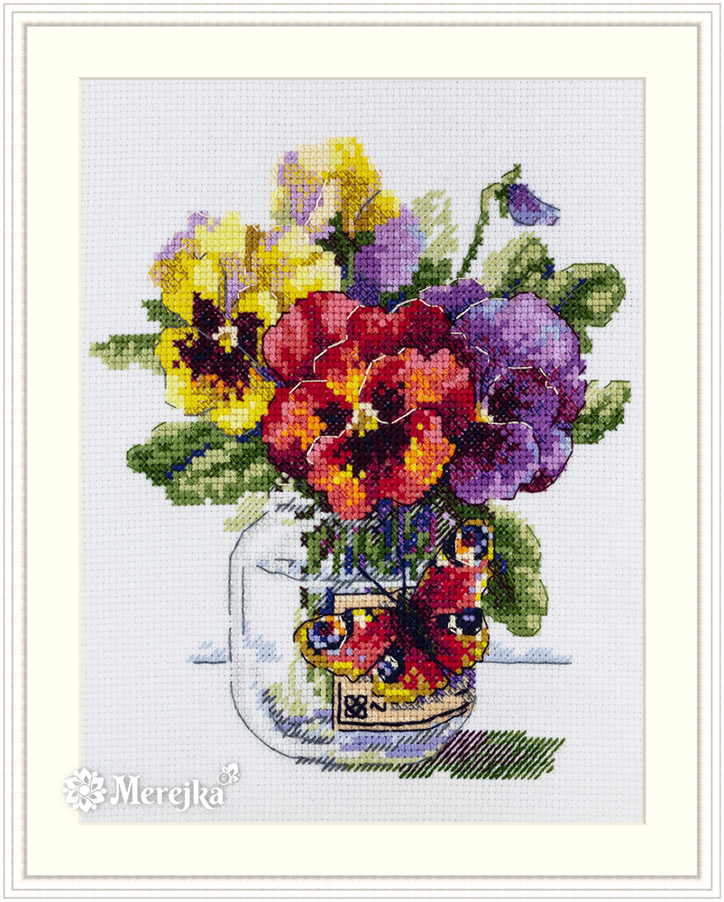 Pansies and Butterfly