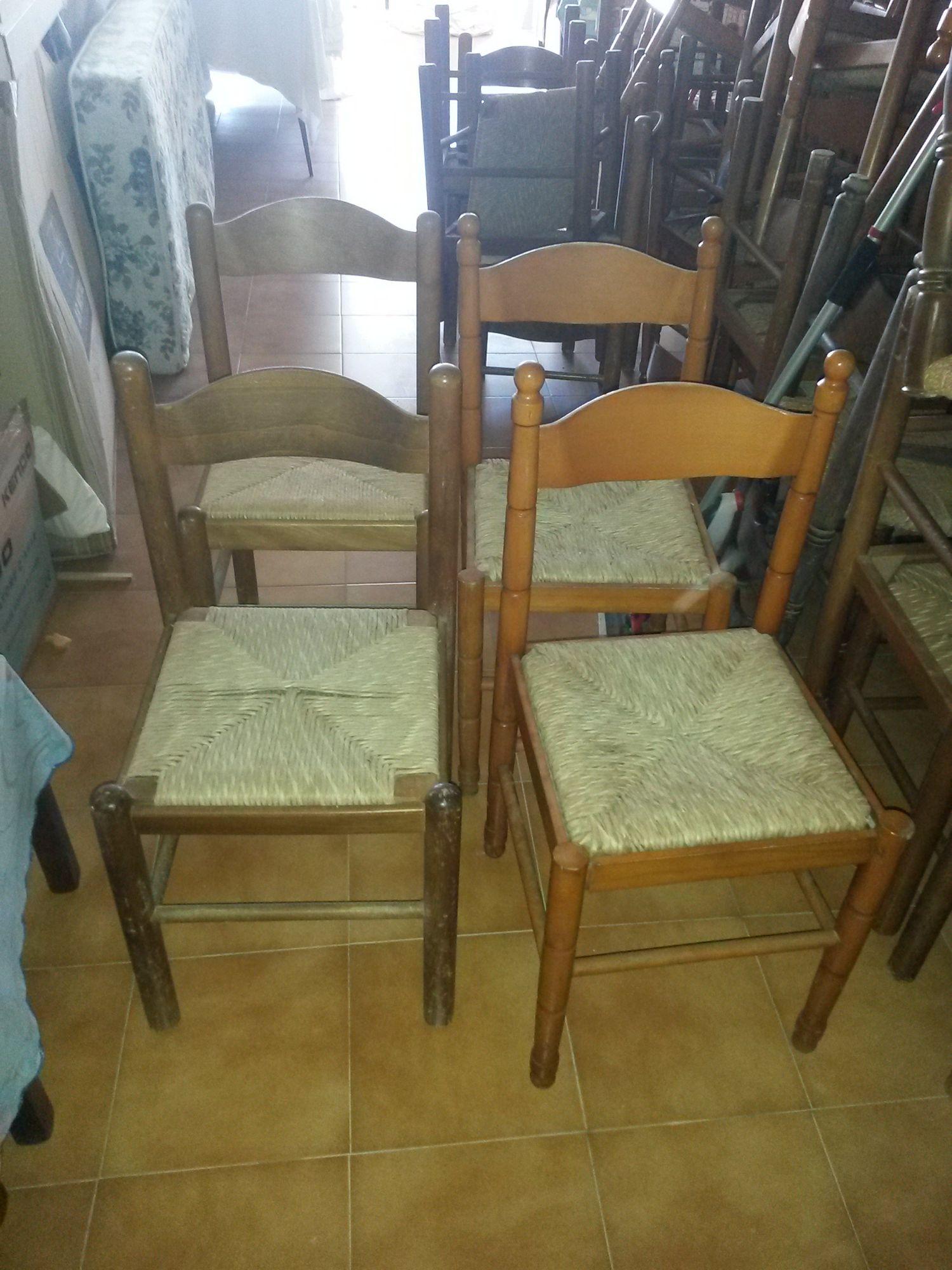 Sedie Legno E Paglia.Sedia Con Seduta In Paglia E Scheletro In Legno Tipo Noce