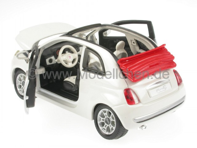 fiat 500 c cabrio weiss modellauto bburago 1 24. Black Bedroom Furniture Sets. Home Design Ideas