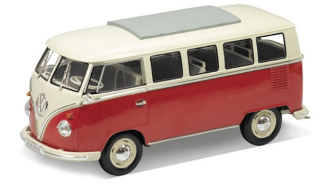 vw t1 bus bulli rot weiss modellauto welly 1 24. Black Bedroom Furniture Sets. Home Design Ideas