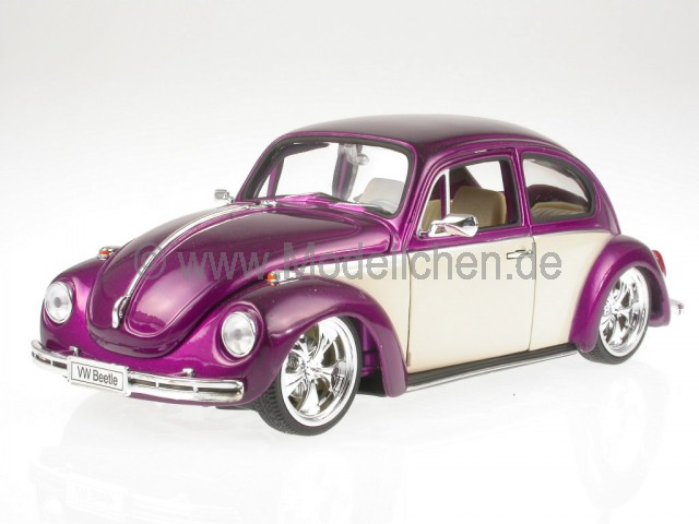 vw k fer beetle custom lila weiss modellauto 22436 welly 1 24. Black Bedroom Furniture Sets. Home Design Ideas