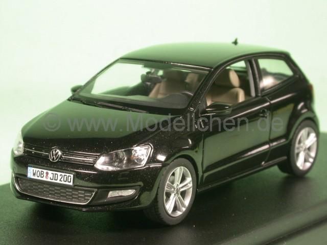 vw polo v 2009 typ 6r schwarz modellauto schuco 1 43. Black Bedroom Furniture Sets. Home Design Ideas