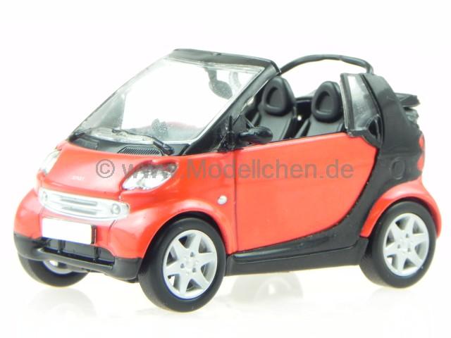 Smart Fortwo Cabrio Rot Modellauto In Vitrine 1 43