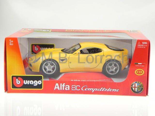 alfa romeo 8c competizione gelb modellauto 18 11021. Black Bedroom Furniture Sets. Home Design Ideas