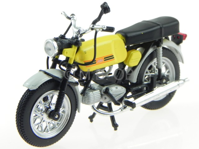 jawa mustang ma stab 1 24 gelb motorrad modell von atlas. Black Bedroom Furniture Sets. Home Design Ideas