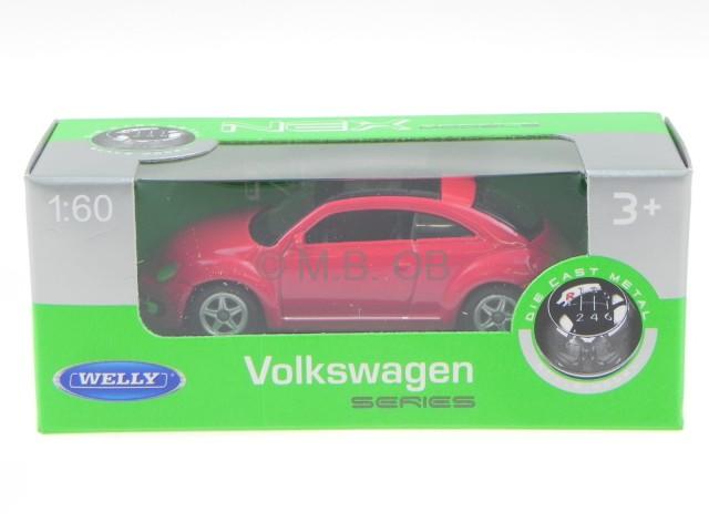 VW Käfer Beetle Modellauto Auto LIZENZPRODUKT 1:60 Blau Rot