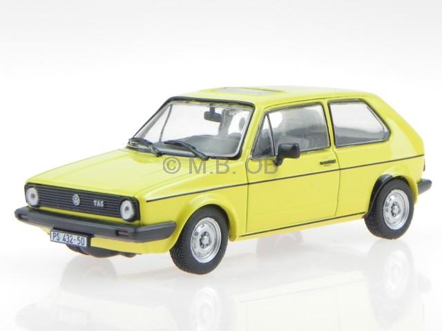 vw golf 1 2 serie gelb modellauto in vitrine 1 43 ebay. Black Bedroom Furniture Sets. Home Design Ideas