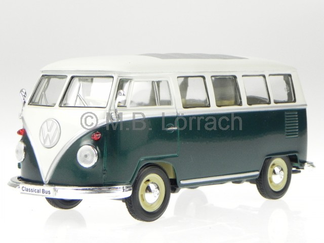 vw t1 bus bulli gr n weiss modellauto 22095 welly 1 24 ebay. Black Bedroom Furniture Sets. Home Design Ideas