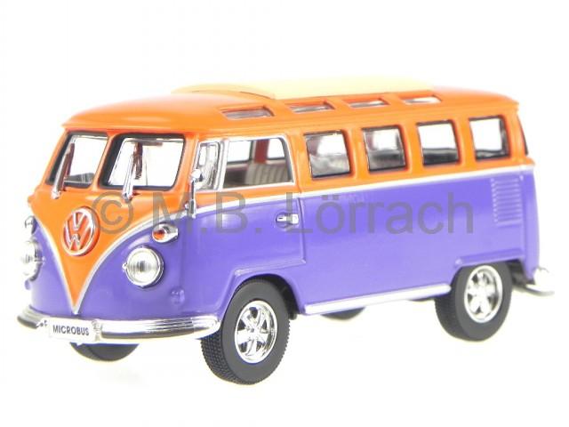 vw t1 samba bus orange modellauto in vitrine 1 43 ebay. Black Bedroom Furniture Sets. Home Design Ideas