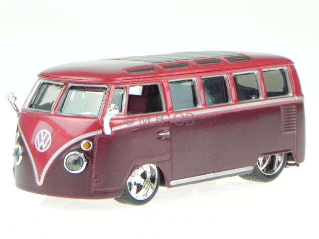 vw t1 samba bus van rot modellauto 42004 bburago 1 32 ebay. Black Bedroom Furniture Sets. Home Design Ideas