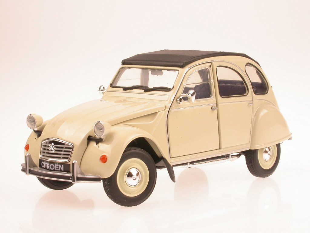 citroen 2cv 6 ente beige diecast model car welly 1 24. Black Bedroom Furniture Sets. Home Design Ideas