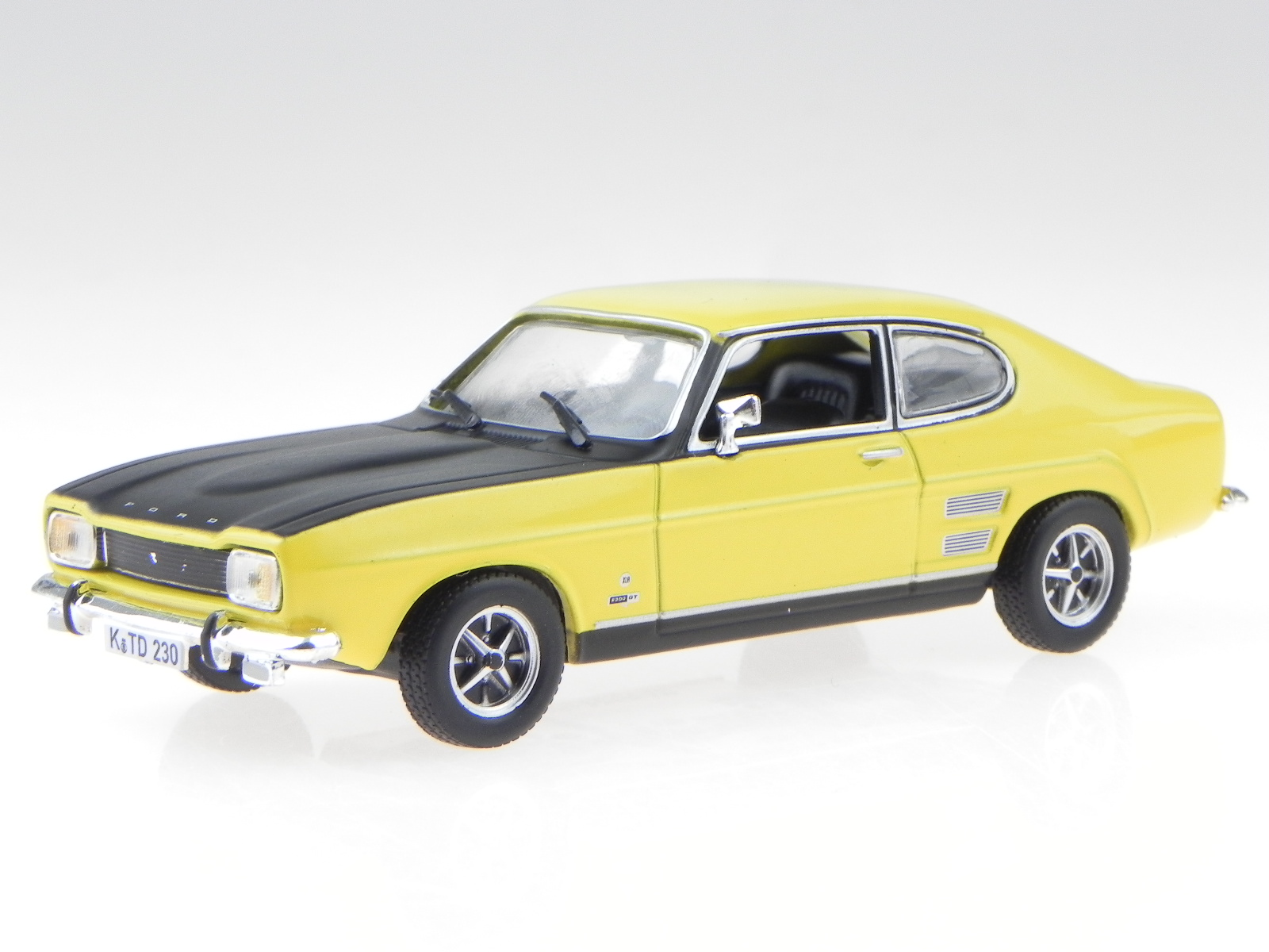 Ford Capri Mk1 1700 Gt Yellow Black Diecast Modelcar In Vitrine Atlas 1 43 For Sale Online