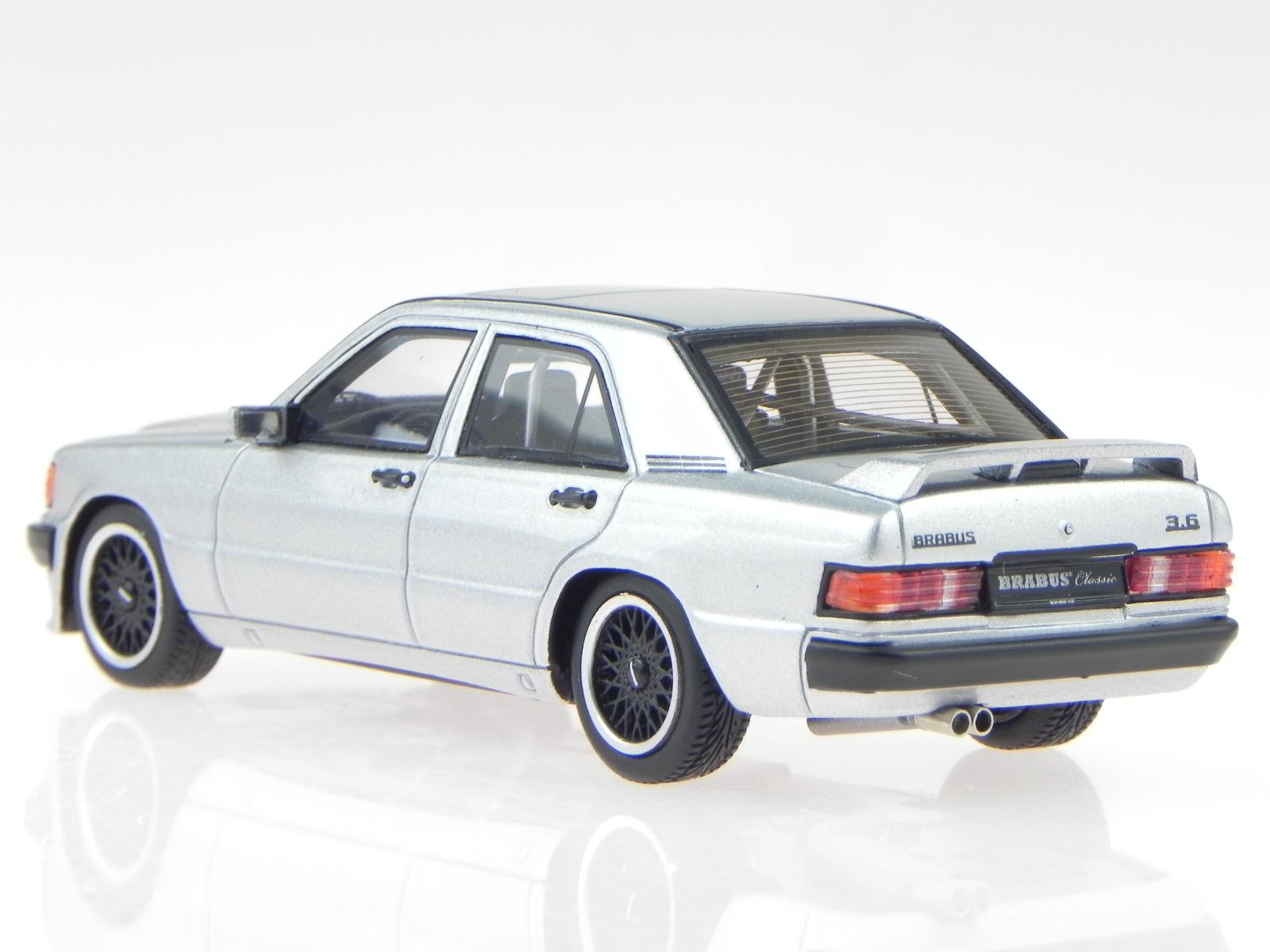 Mercedes-W201-Brabus-190E-3-6S-1989-argent-vehicule-miniature-Minichamps-1-43