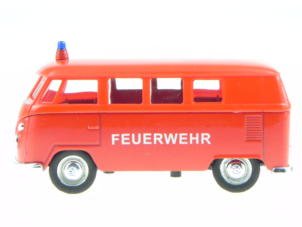 vw t1 bus feuerwehr modellauto welly 1 34 ebay. Black Bedroom Furniture Sets. Home Design Ideas