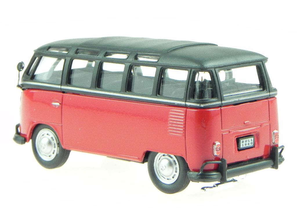 VW-T1-Samba-rosso-nero-Bus-Bulli-modellino-in-vetrinetta-acrilica-Cararama-1-43