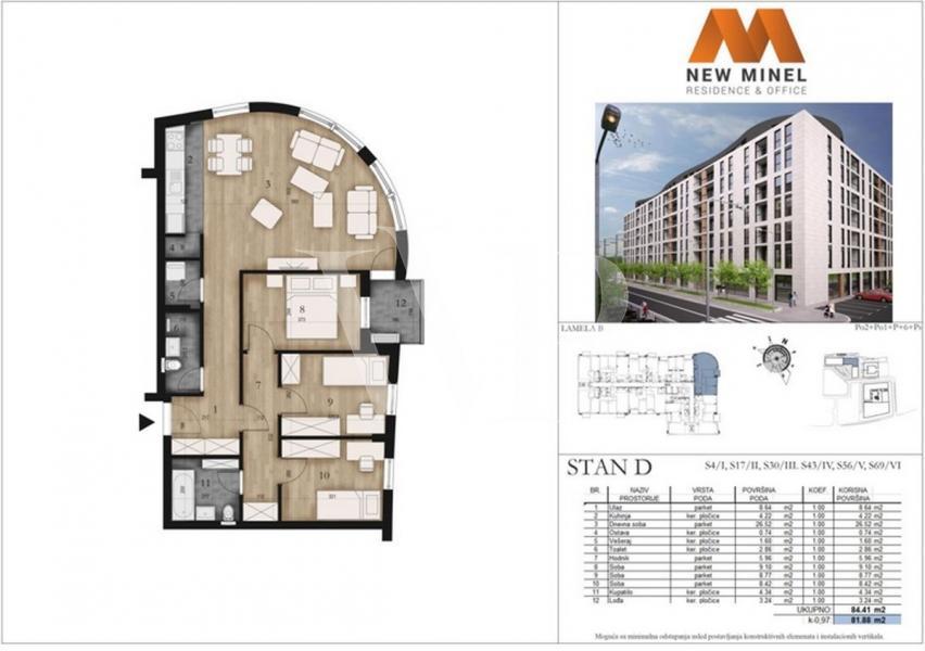 82 m2, Stan, Tošin bunar, agencijski ID: 42617
