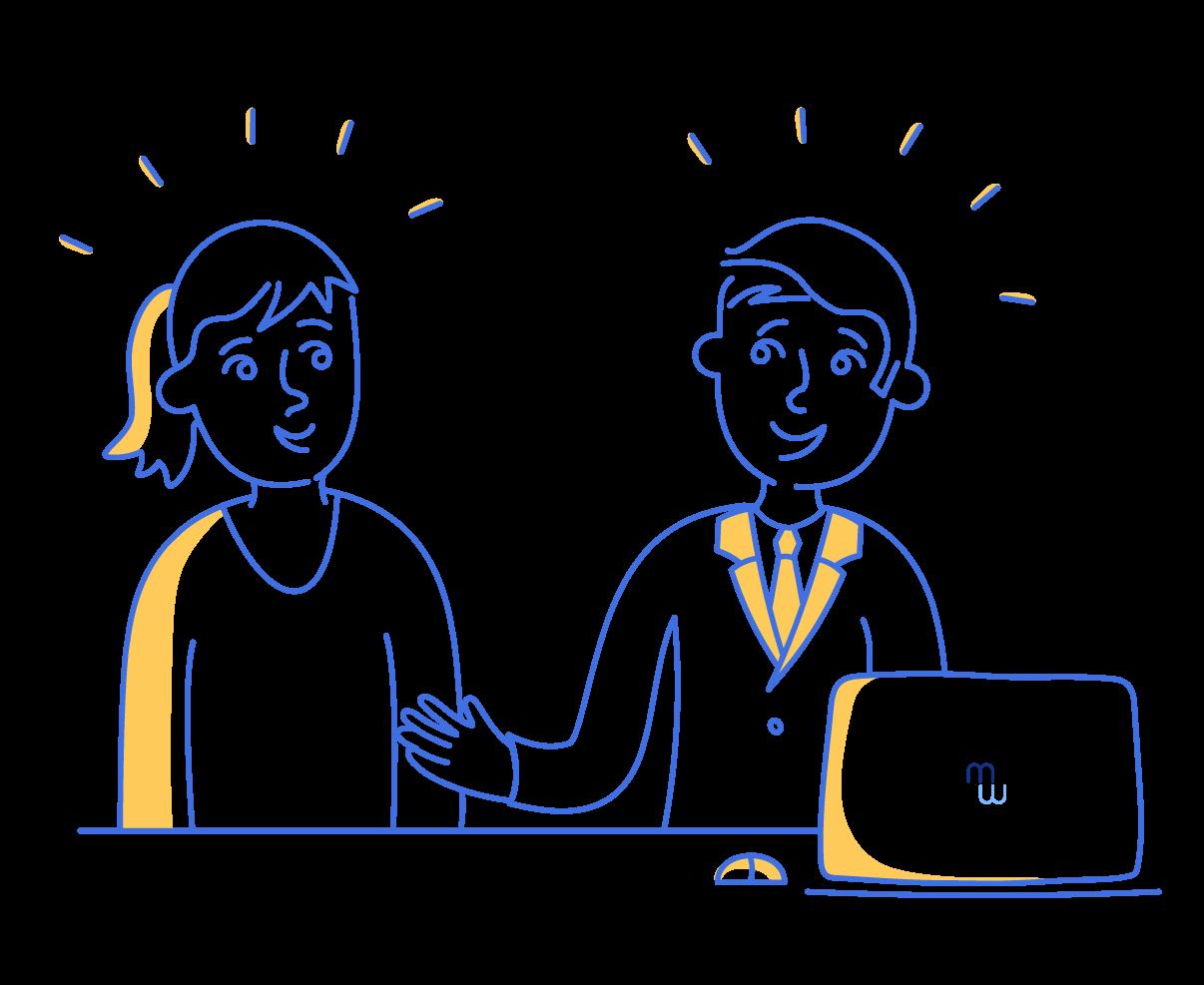 illustration de deux personnages dans un bureau