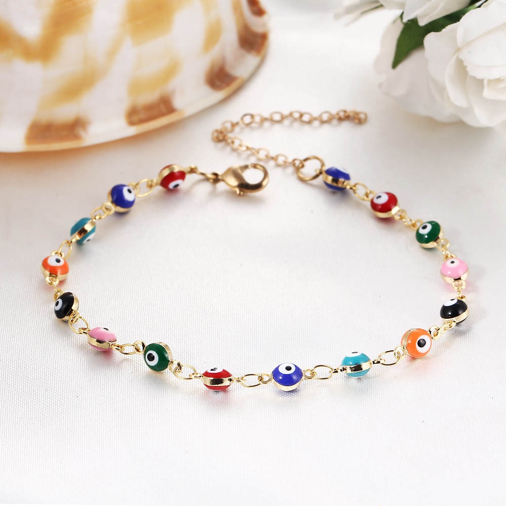 2c3ac11a7da48 Details about Gold Colorful Beads Turkish Evil Eyes Charm Bracelet   Bangle  Birthday Gift