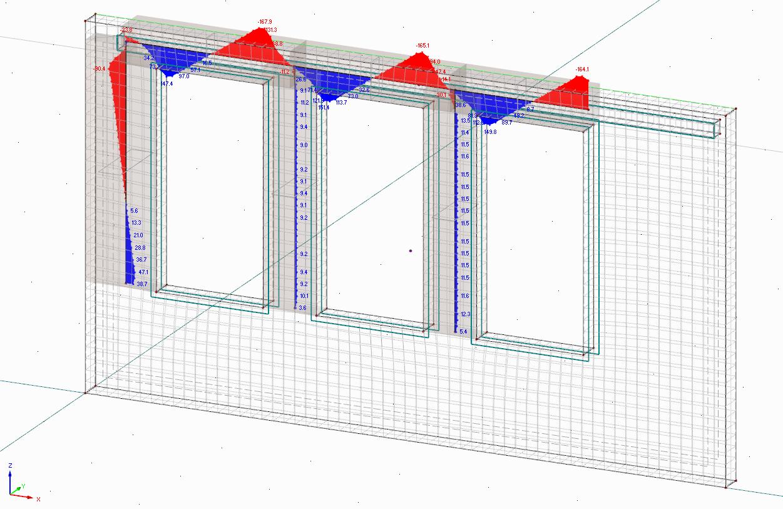 Rekenmodel van een betonnen prefab wand met resultaatstaven