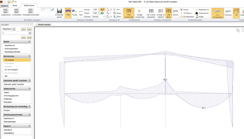 Snedekrachten My zoals getoond in IDEA Designer en geïmporteerd uit RFEM
