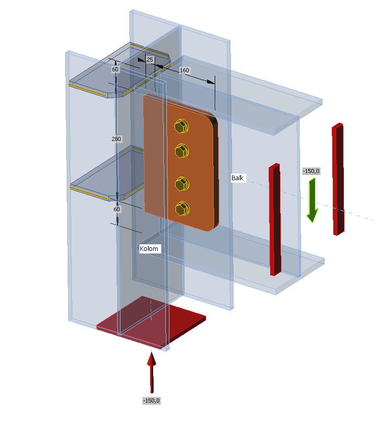 Rekenmodel van een lipverbinding van een stalen ligger op een stalen kolom in IDEA Connection