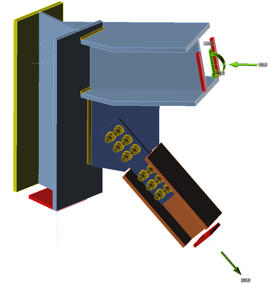 Rekenmodel van schuine aansluiting van windverband en ligger op stalen kolom in IDEA Connection