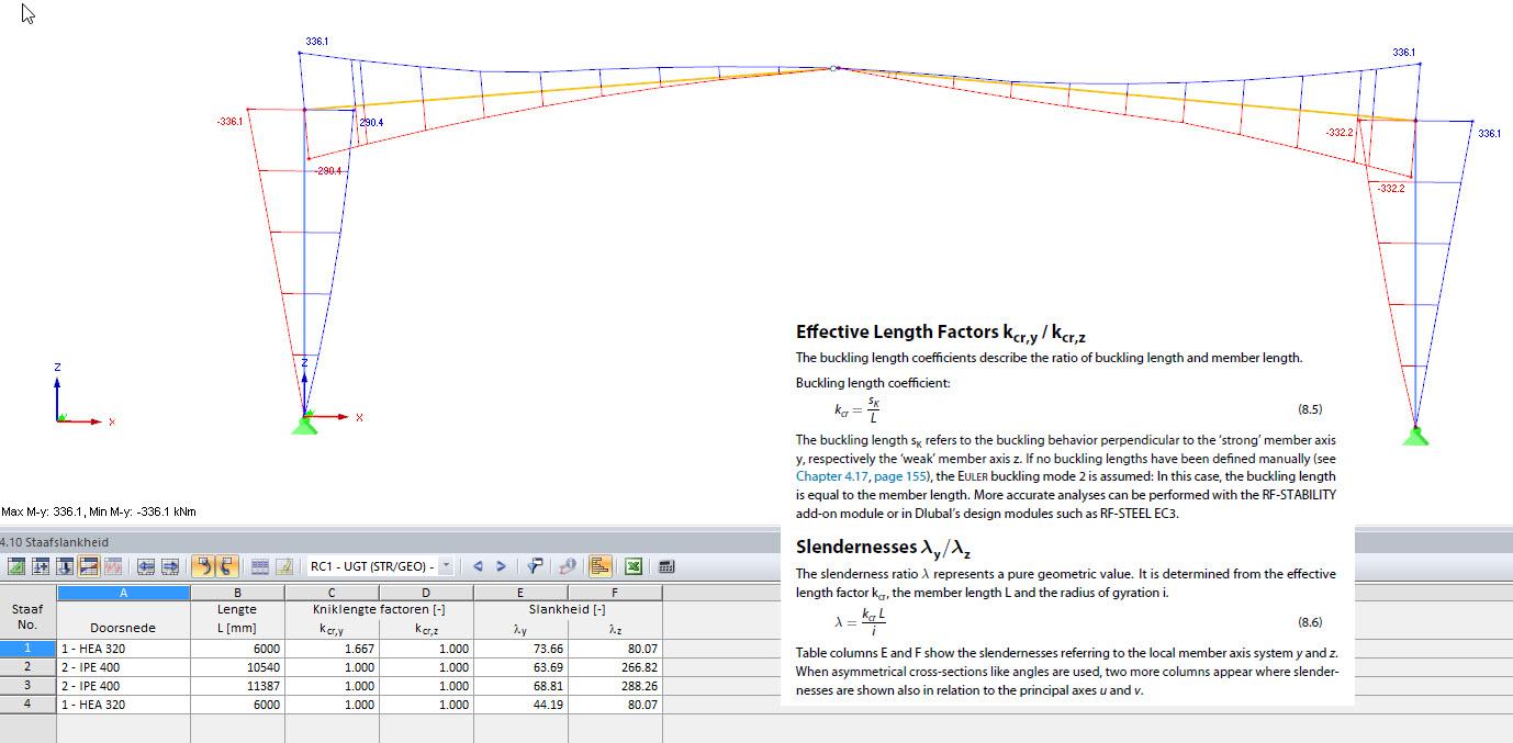 Slankheden kniklengte factoren systeemlengtes export RFEM rekensoftware