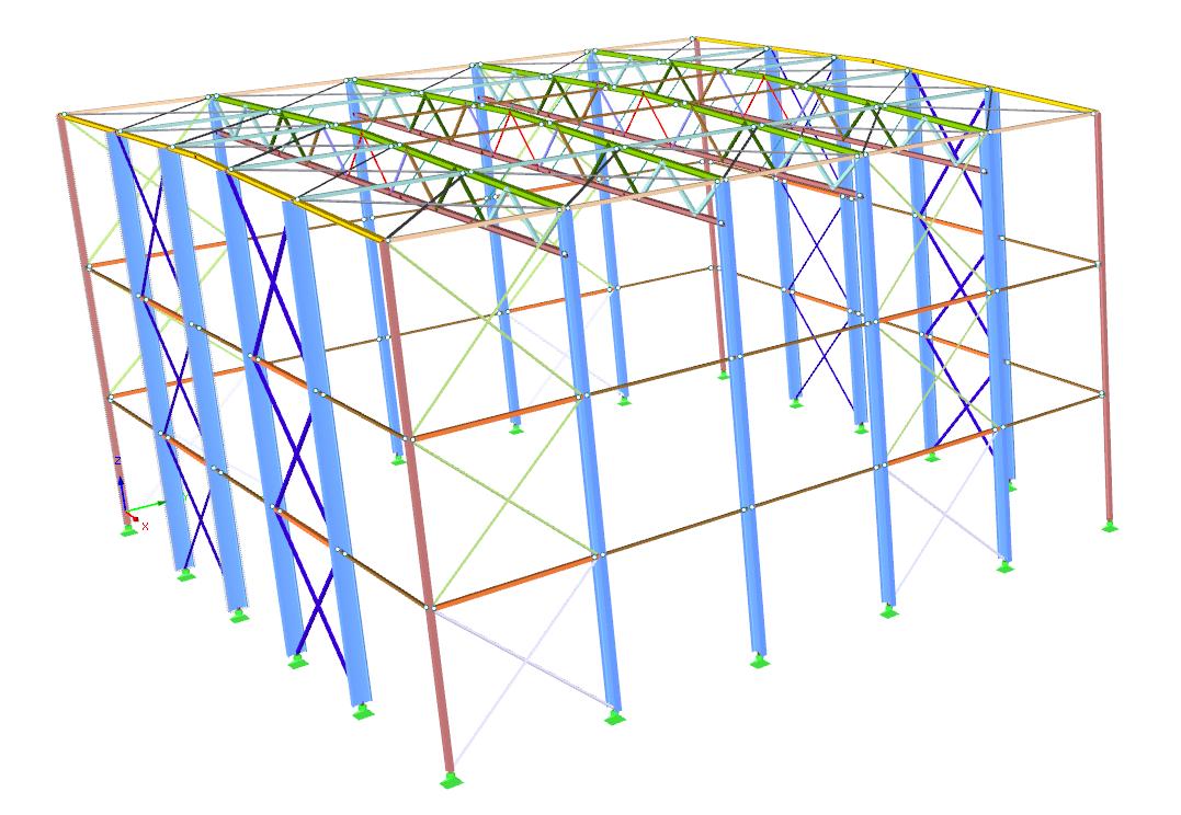 Voorbeeld van een rekenmodel van een stalen hal in de 3D rekensoftware RFEM