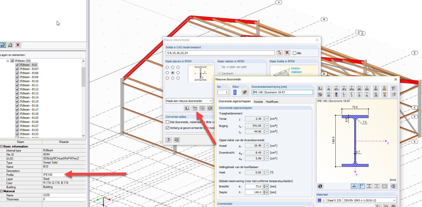 Staven omzetten uit IFC model naar staven in RFEM rekensoftware