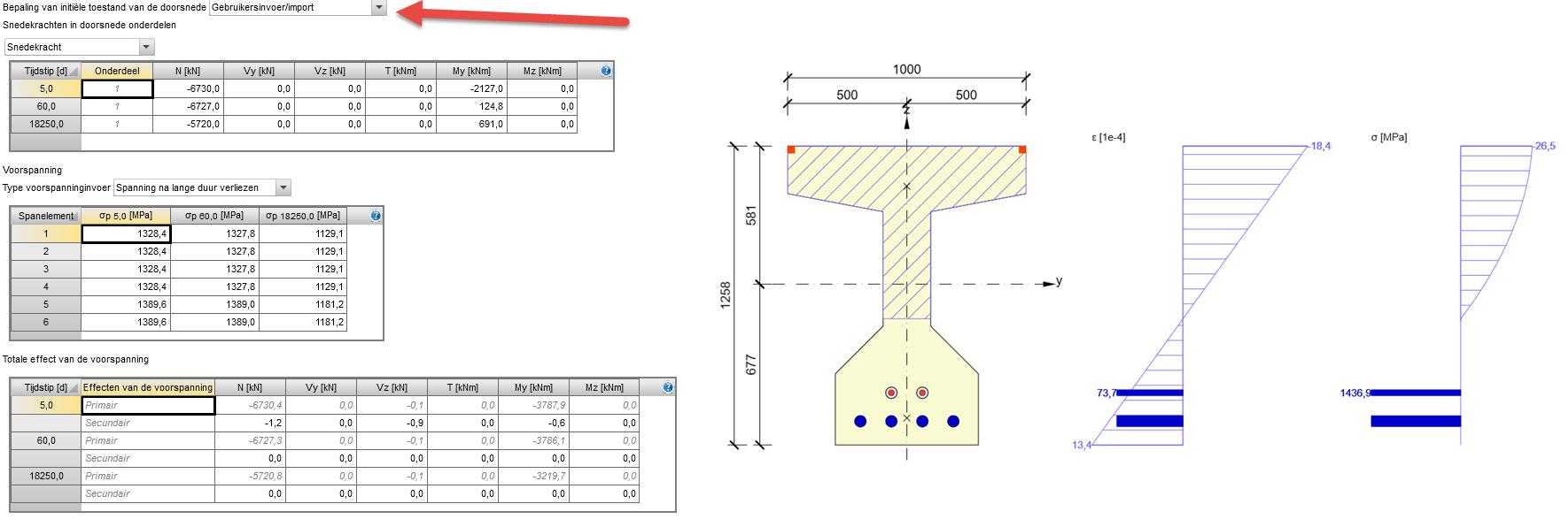 Gebruikerinvoer voor de ingave van voorspanning en rheologische effecten van beton in IDEA RCS