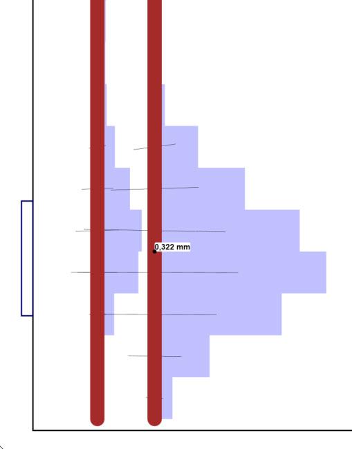 De grafische weergave van de berekende scheurwijdte van een betonconstructie