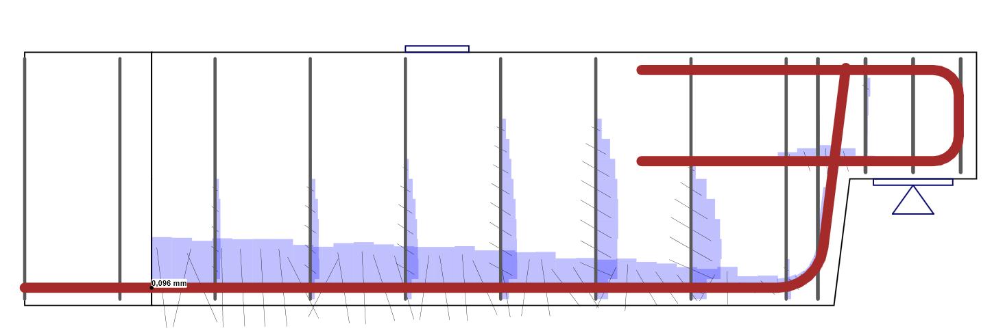 Berekende scheurwijdte in IDEA StatiCa Detail