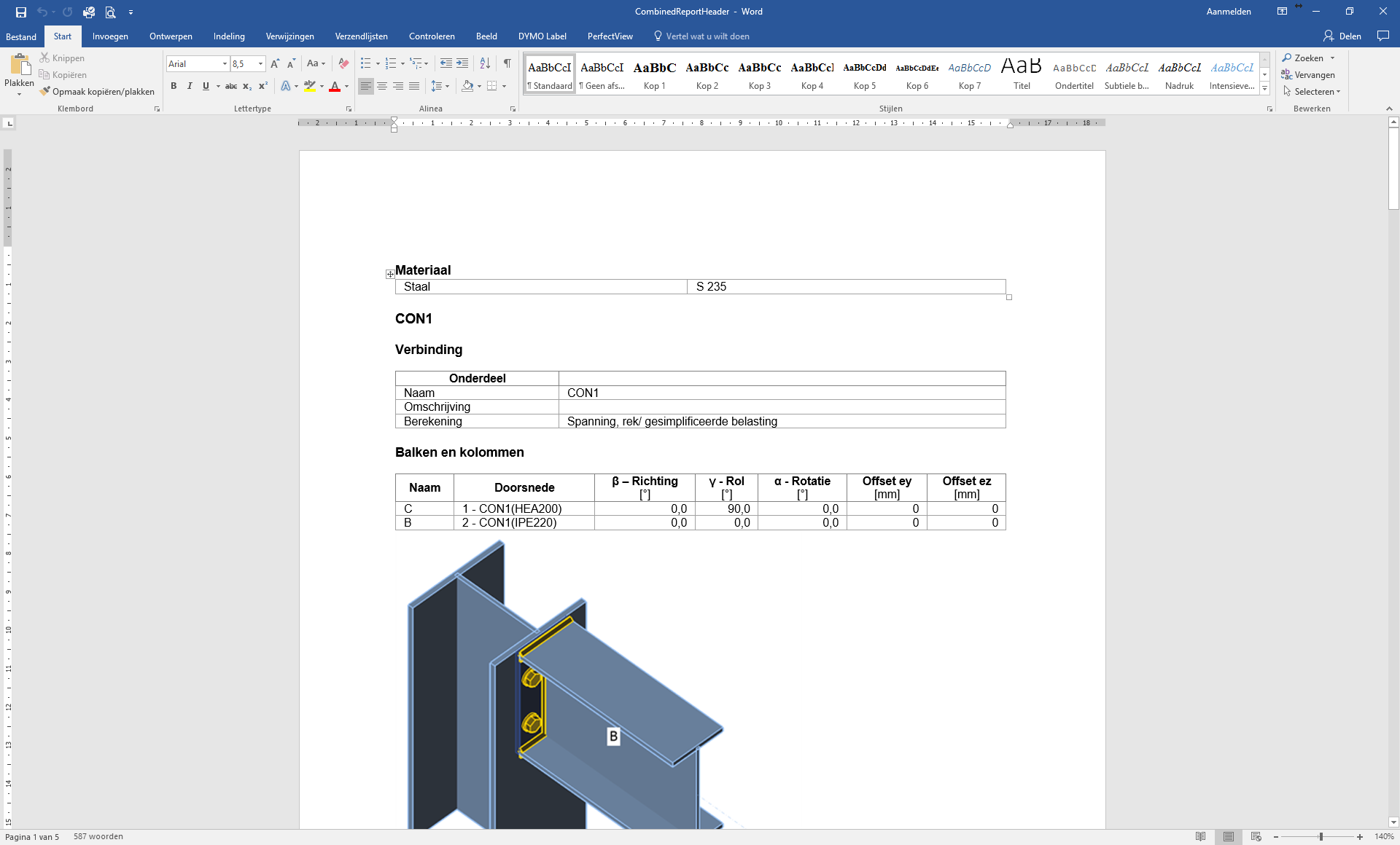verbindingsrapport in MS word
