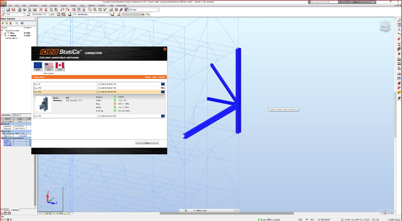 CAD koppeling BIM IDEA Connection naar STAAD SAP 2000 Robot