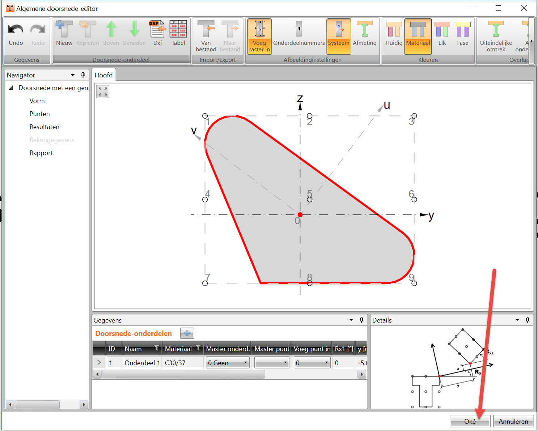 betondoorsnede in IDEA RCS