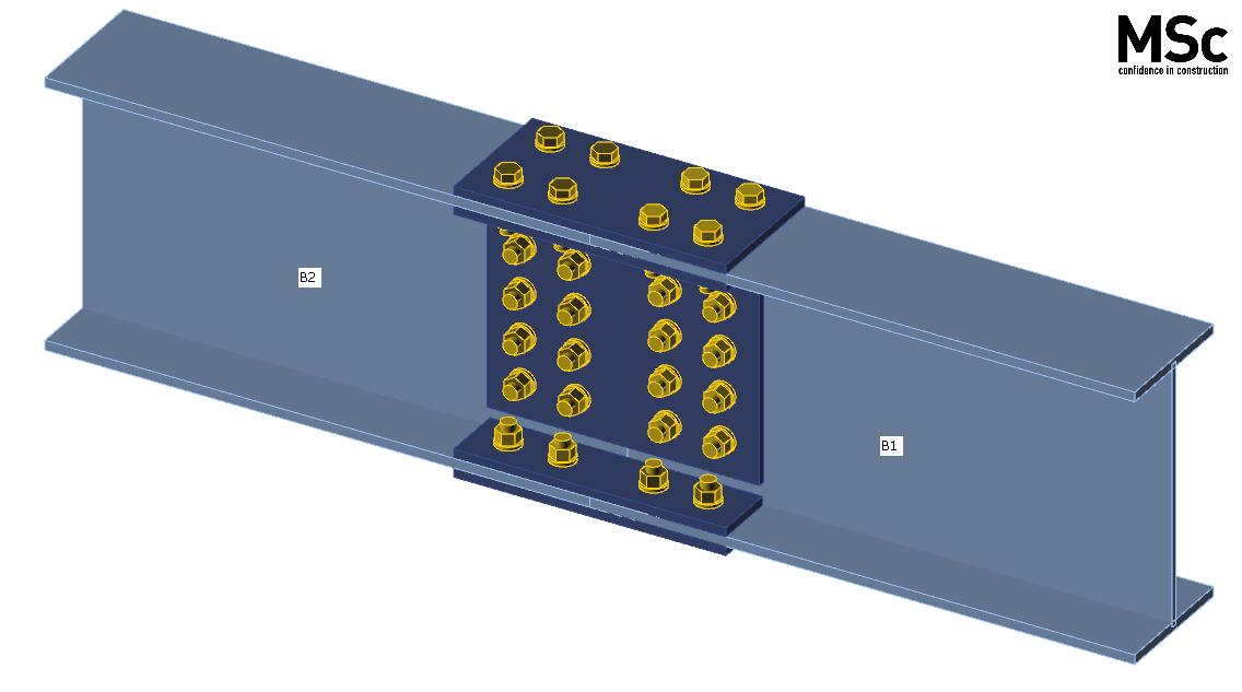 Stuikverbinding van een doorgekoppelde stalen ligger zoals gemodelleerd in IDEA Connection
