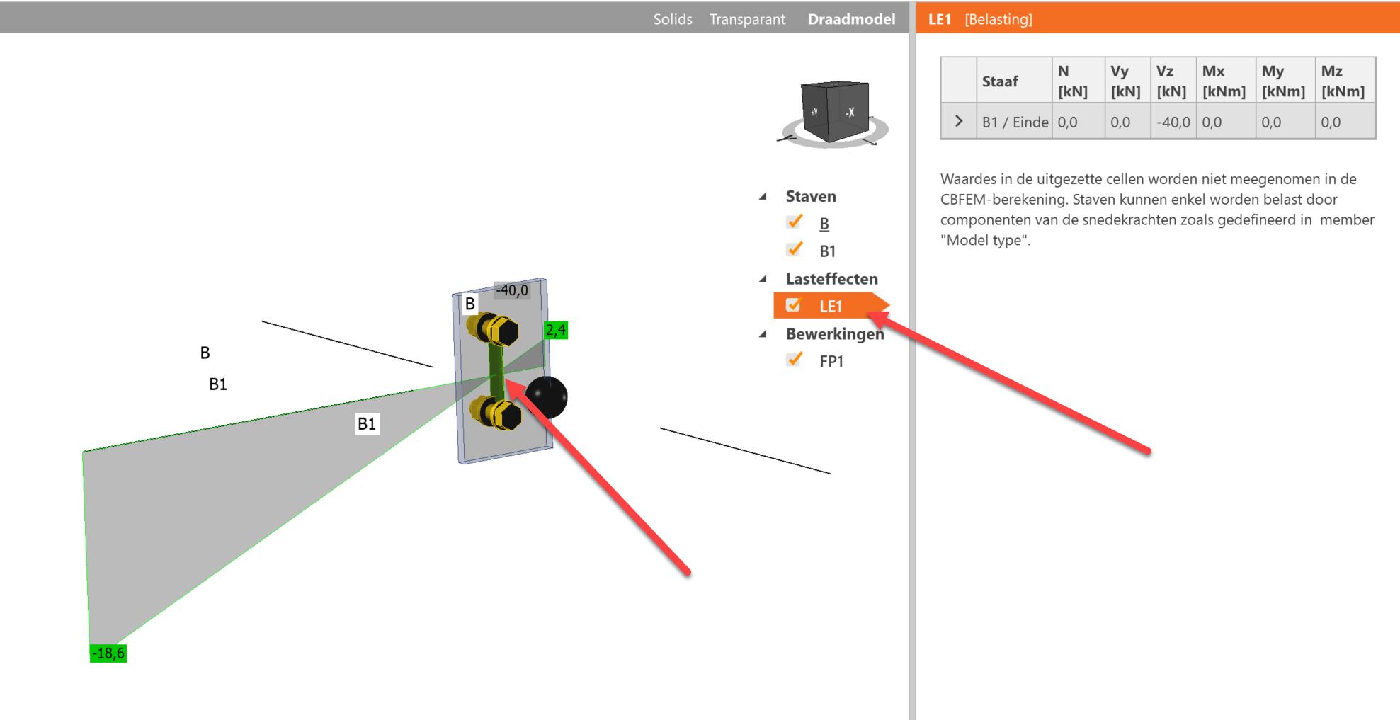 Dwarskrachtverbinding met verschoven aangrijpingspunt van krachten in draadmodel weergave van momentenlijn in IDEA Connection