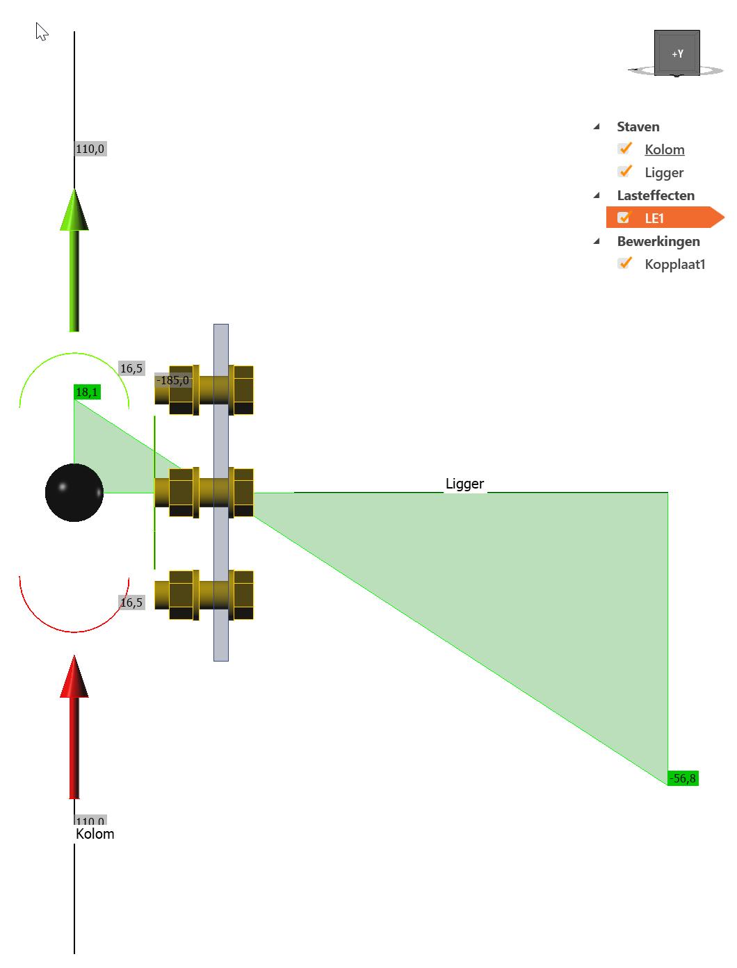 Momenteffect zichtbaar in rekensoftware IDEA Connection