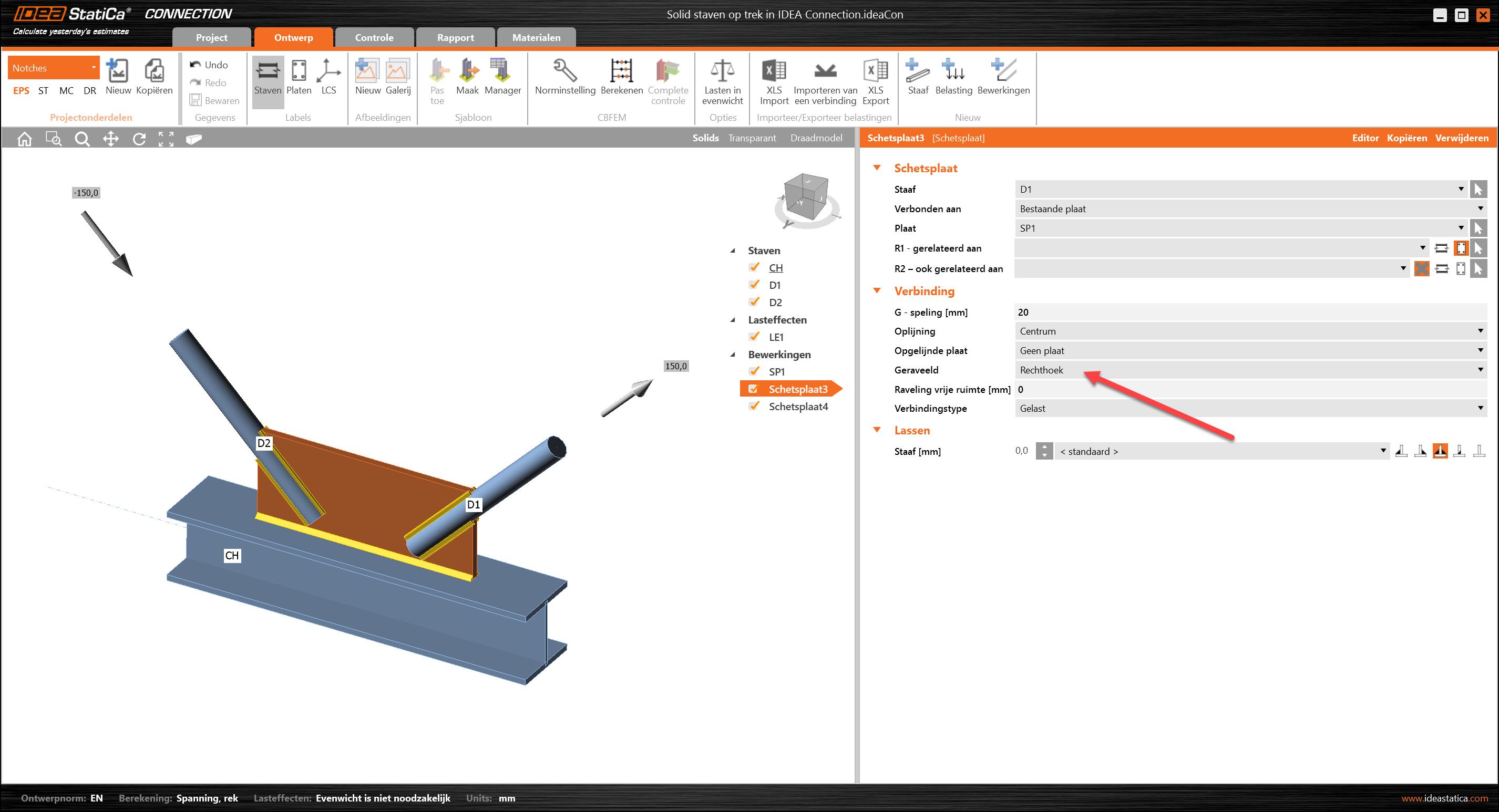 Solid staaf element Schetsplaat vakwerkstaven werkplaatsbewerking in IDEA Connection